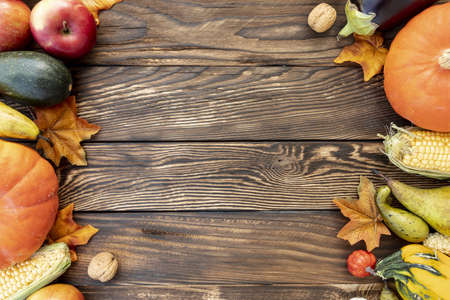 autumnal frame wooden table with copy space. Resolution and high quality beautiful photo