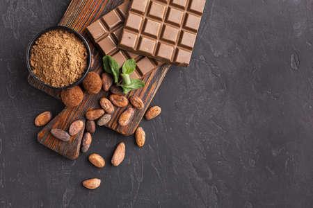 bar chocolate copy space. Resolution and high quality beautiful photo Banco de Imagens