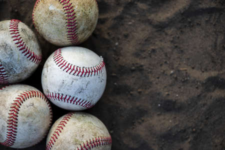 close up dirty baseballs with copy space. Resolution and high quality beautiful photo Banco de Imagens