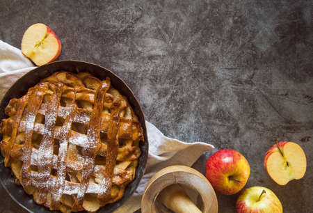 baked apple pie wooden table with fruit. Resolution and high quality beautiful photo