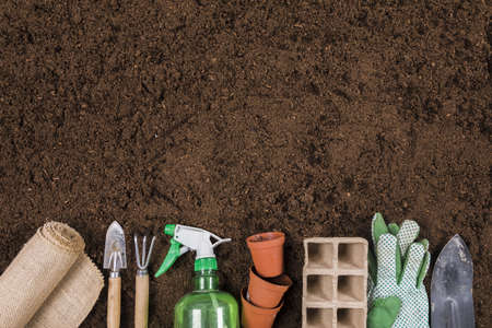 flat lay gardening composition with copyspace. Resolution and high quality beautiful photo