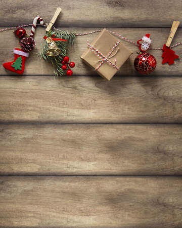 christmas decorations hanging wooden background. Resolution and high quality beautiful photo Banco de Imagens