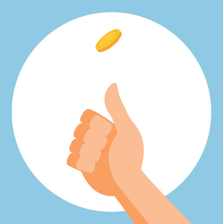 tossing: illustration of a coin flip. Illustration