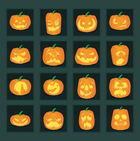 jack'o'lantern: illustrations of jack-o-lantern expressions and Halloween scenes. Illustration