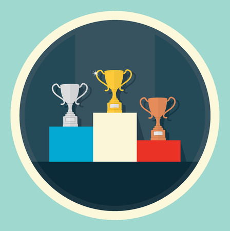 incentives: Vector illustration of trophies on a podium.