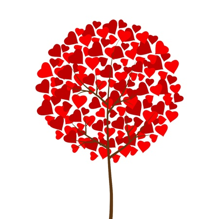 Red hearts love tree