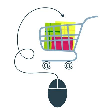 carro supermercado: E-commerce concepto de ratón de la computadora y el carro de compras