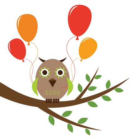 Cute owl with balloons Stock Vector - 11075553