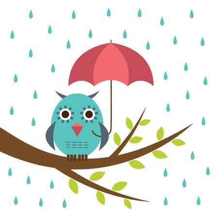 rain cartoon: Cute owl with umbrella