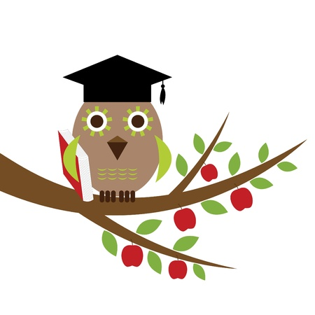 Wise owl with a book  Stock Vector - 11075554