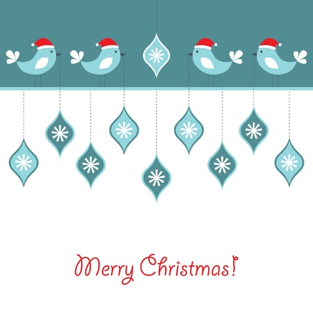 Christmas birds background  Illustration