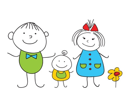 Happy doodle family
