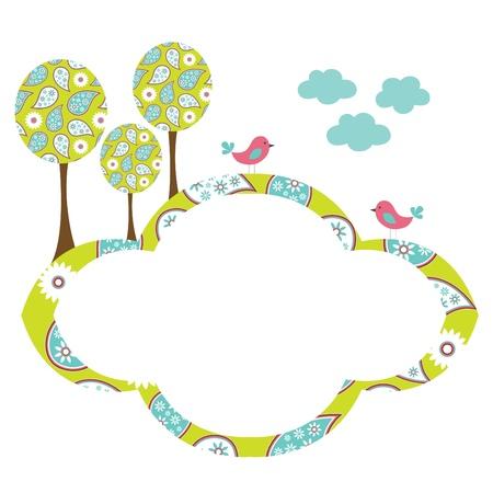 disegno cachemire: Carino uccelli e telaio alberi