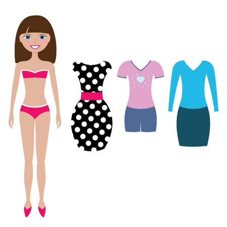 paper dolls: paper doll with clothing set Illustration