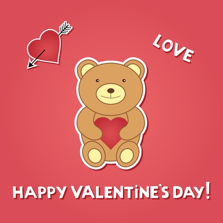 Valentine card with teddy bear  Vector
