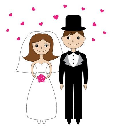 heiraten: Braut und Bräutigam Illustration Illustration
