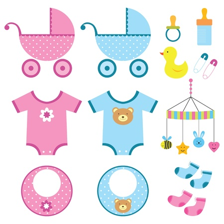 Baby boy and girl elements set Vector