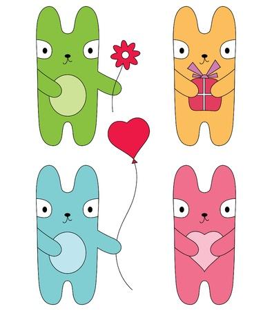 cute rabbit: Four cute bunnies