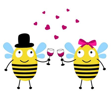 Cute bees love card Vector