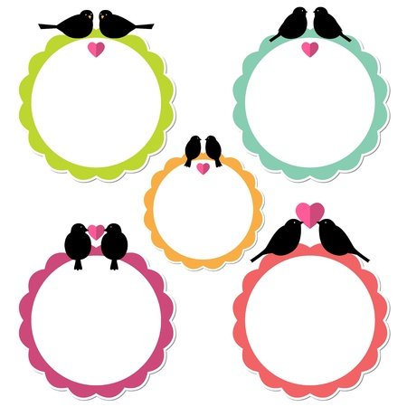 wedding card design: Frames with birds
