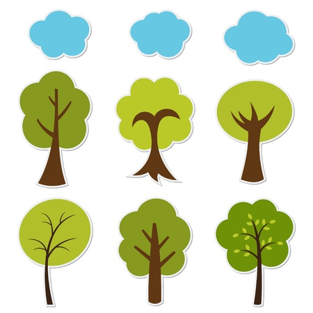 Illustration trees set