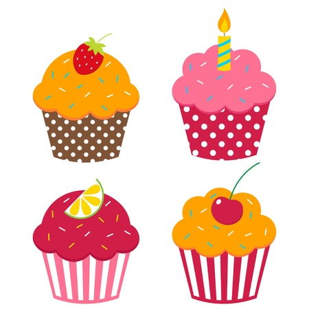 birthday cupcakes: Cute vector cupcakes set