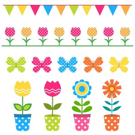 Flores de colores y elementos de diseño establecidos