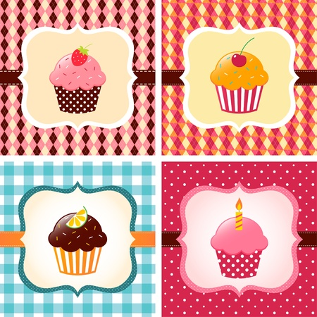 Cute cupcakes cards set Illustration
