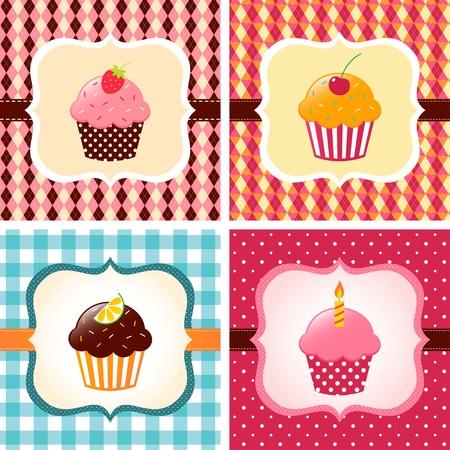 Cute cupcakes cards set Illustration