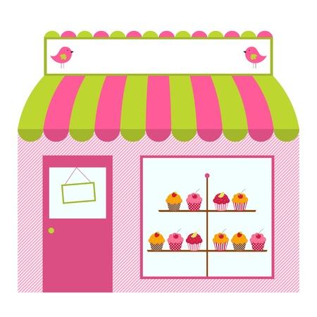 store window: Leuke winkel of cafe ontwerp Stock Illustratie