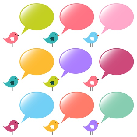 tweet: Speech bubbles and birds set