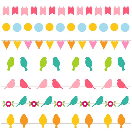 Bunting and birds borders set