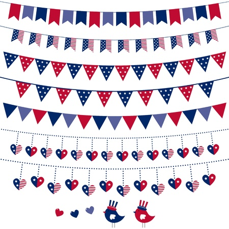 fourth birthday: American flag themed bunting set Illustration