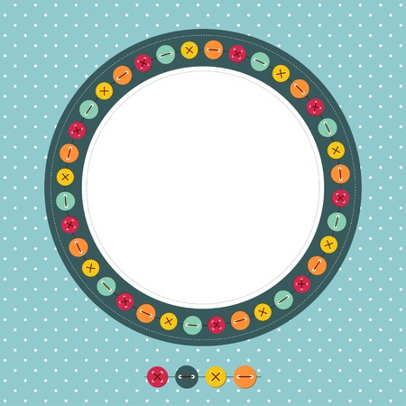 Cute photo frame with buttons Vector