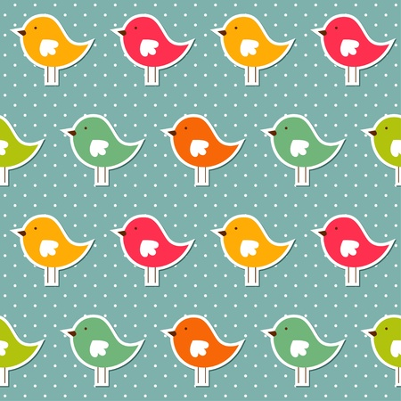 Seamless pattern with colorful birds