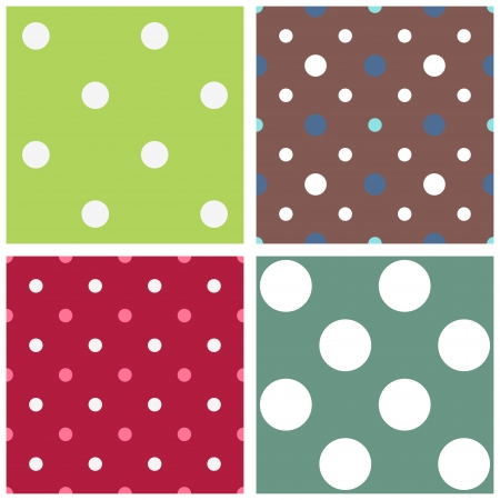 Seamless polka dot patterns set