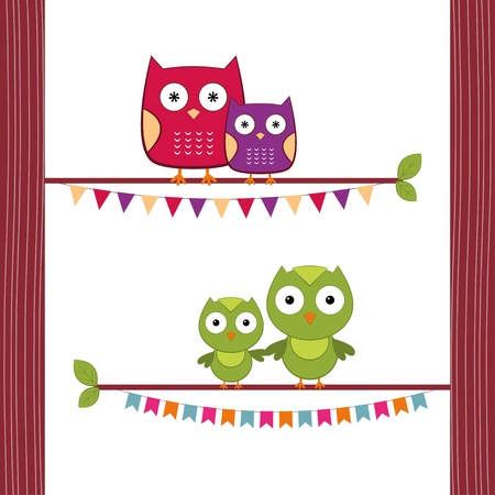 Mom and baby owls Stock Vector - 14220486