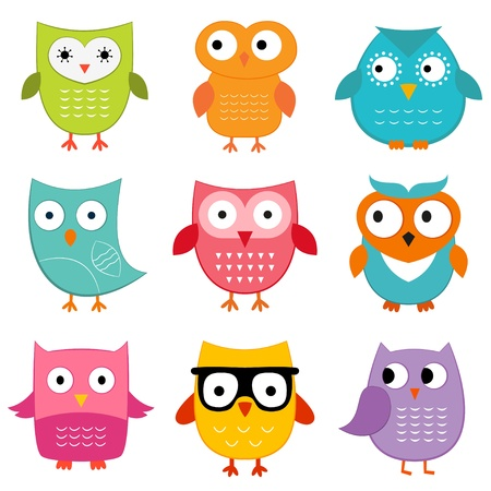 character set: Cute owls set
