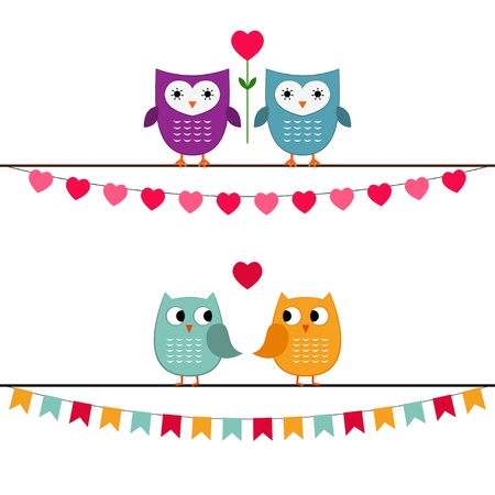 Owls love couples Vector