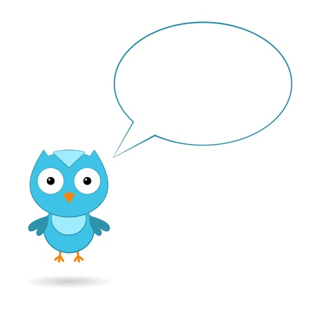 Blue bird with a speech bubble