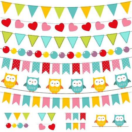 bunting flags: Bunting and garland colorful set Illustration
