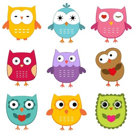 isolated owl: B�hos de dibujos animados creado