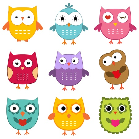 Cartoon owls set Vector