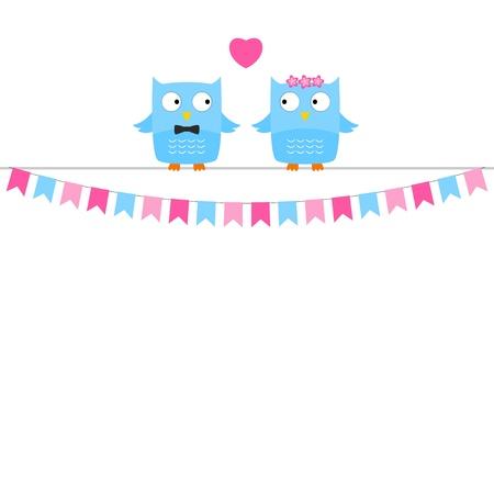 pennants: Owl love couple