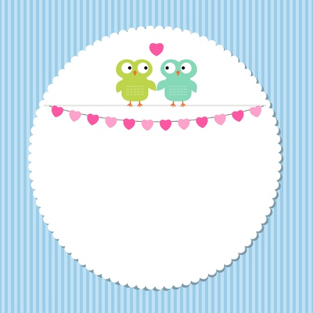 Owl love frame Vector