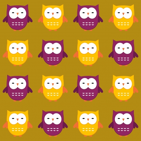 Seamless owls pattern Vector