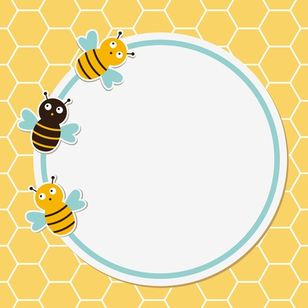 honey comb: Cute bees card Illustration