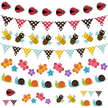 Summer garland bunting and garland set Vector