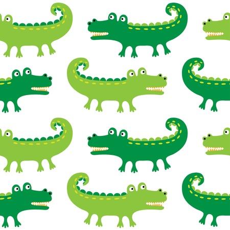crocodile: Seamless crocodiles pattern Illustration