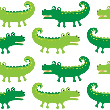 Seamless crocodiles pattern Illustration